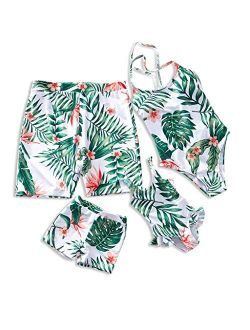 IFFEI Mommy and Me Family Matching Swimsuit One Piece Beach Wear Summer Leaves Sporty Monokini Bathing Suit