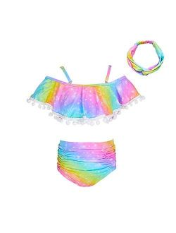 Play Tailor Girls Swimsuit 2 Piece Bathing Suit High Waist Flounce Top Bikini Swimwear with Headband, 2-9Y