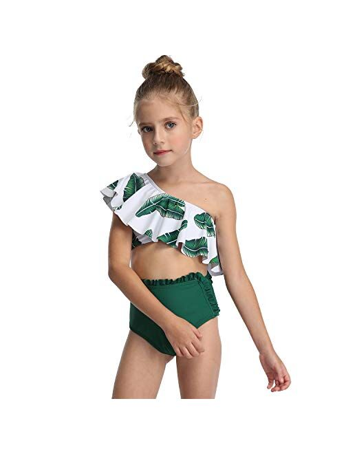 Flashing boy Toddler Kids Girls Two Piece Swimsuit Ruffles Bikini Set Swimwear Beach Sport Halter Top Diving Surfing Clothes