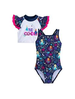 Frozen Swimsuit And Rash Guard Set For Girls
