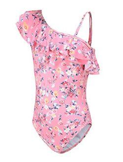 Moon Tree Girls One Piece Swimsuits Hawaiian Ruffle Swimwear Beach Bathing Suit 2-14 Years