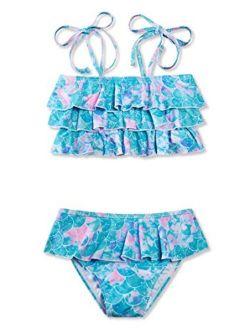 UNICOMIDEA Girls Frill Bikini Fashion Swimsuit for Little Girls Beach Swimwear Flounce Summer Bikini for 5-12 Years