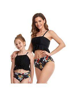 2Pcs Baby Girl Swimsuit High Waisted Bathing Suit Halter Neck Swimwear Women Bikini Sets for Family