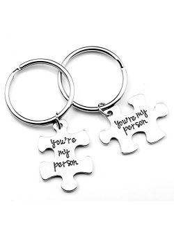 """Top Plaza 2pcs/Set Antique Silver Alloy""""You Are My Person"""" Key Chain Key Ring For Couple Lover - Christmas Birthday Valentine's Day Gift"""