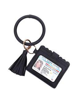 Beurlike Keychain Wallet Bracelet with Credit Card Holder for Women Wristlet Tassel Key Ring ID Wallet for Lady Girls