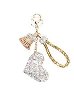 Fawziya Keychain Heart Rhinestone Keychains With Tassel