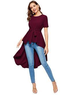 Women's Irregular Hem Short Sleeve Belted Flare Peplum Ruffle Blouse Shirts Top