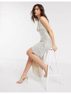 TFNC sequin embellished cowl midaxi dress in ecru
