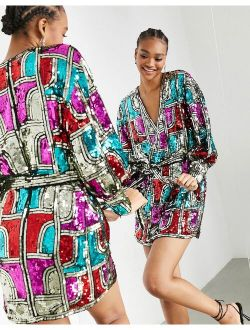 ASOS EDITION mini wrap dress with graphic sequin