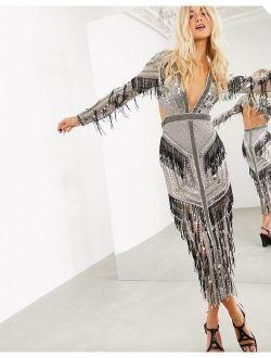 ASOS EDITION graphic beaded fringe plunge midi dress