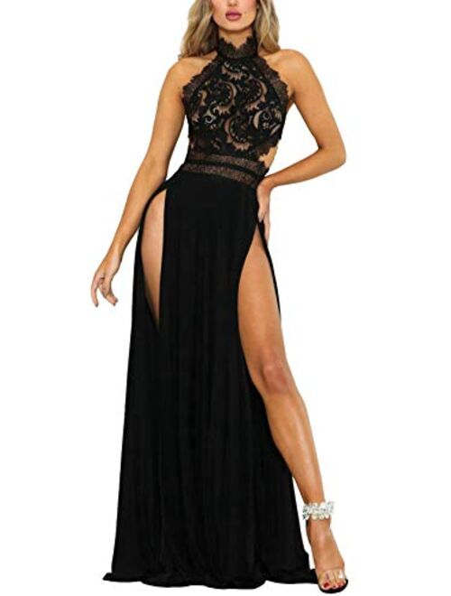 Women Sexy Floral Mesh Lace See Through Backless Double High Split Evening Party Maxi Dress