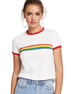 Women's Slim Fit Short Sleeve Rainbow Striped Colorblock Print Ringer Tee
