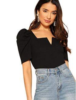 Women's Puff Sleeve Square Neck Elegant Slim Fit Rib Knit Blouse Tops