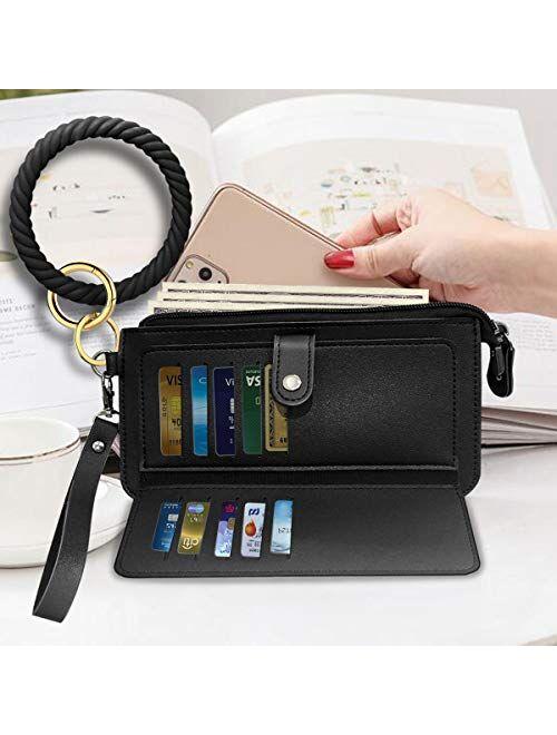 Idakekiy Key Chain, Silicon Wristlet Keychain Wallet with Card Holder Bangle Keyring Bracelet Holder for Women Girl