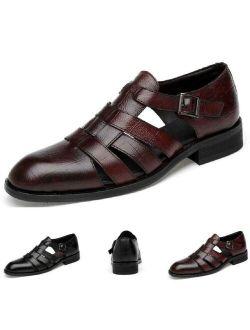 Men's Dress Formal Sandals Shoes Hollow out Buckle Leather Flats Gentleman Vogue