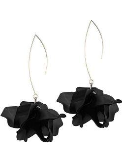 Colorful Flower Hoop Earrings, Floral Drop Dangle Statement Earrings for Women KELMALL COLLECTION