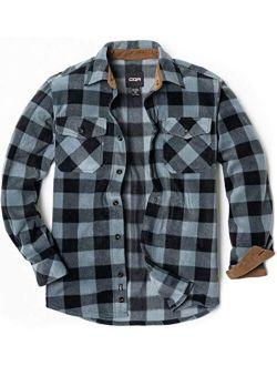 Men's Long Sleeve Heavyweight Fleece Shirts, Plaid Button Up Shirt, Warm Corduroy Lined Collar & Cuffs Shirt