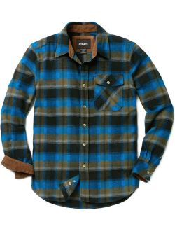 Men's Cotton Flannel Shirt, Long Sleeve Plaid Shirt, Brushed Outdoor Shirts