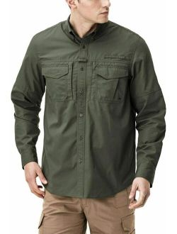 Men's Long Sleeve Work Shirts, Ripstop Military Tactical Shirts, Outdoor Upf
