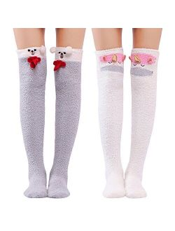 Cute Animal Coral Fleece Thigh High Long Socks 2 Pairs