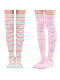 Cute Coral Fleece Thigh High Long Striped Socks 2 Pairs