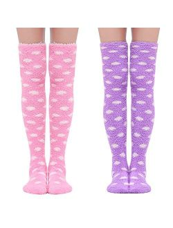 Cute Coral Fleece Thigh High Long Dotted Socks 2 Pairs