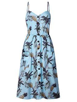 ECHOINE Floral Boho Spaghetti Strap Button Down Swing Midi Summer Beach Dress With Pockets