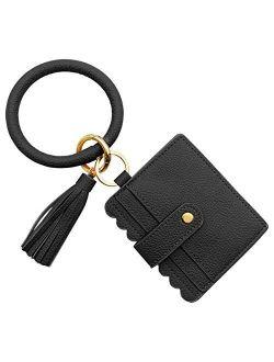 SELOVO Key Ring PU Leather Bangle Tassel Wristlet Card Holder Keychain Wallet For Women Girls