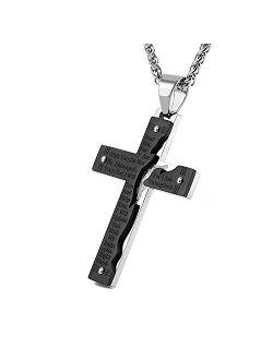 Men's Stainless Steel Jesus Christ Crucifix Cross Lord's Prayer Pendant Necklace