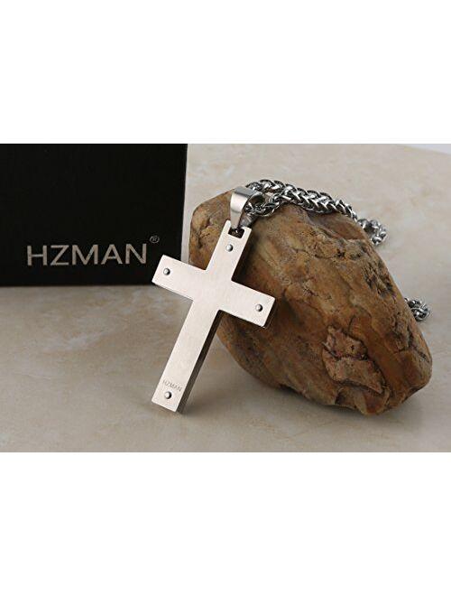 HZMAN Men's Stainless Steel Jesus Christ Crucifix Cross Lord's Prayer Pendant Necklace