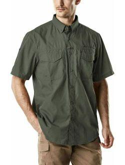 Men's Short Sleeve Work Shirts, Ripstop Military Tactical Shirts, Outdoor Up
