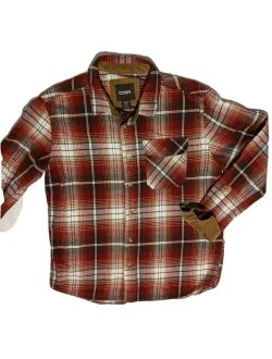 Men's Flannel Long Sleeved Button-up Plaid All-cotton Brushed Shirt X Large