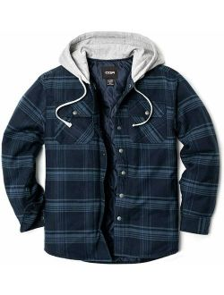 Mens Hooded Quilted Lined Flannel Shirt Jacket, Long Sleeve Plaid Button Up