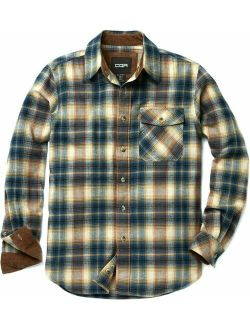 Men's All Cotton Flannel Shirt, Long Sleeve Casual Button Up Plaid Shirt, Br