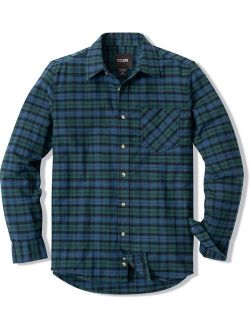 Men's All Cotton Flannel Shirt, Brushed Soft Casual Button Up Plaid Shirt, L