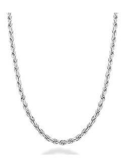 Miabella Solid 925 Sterling Silver Italian 2mm, 3mm Diamond-Cut Braided Rope Chain Necklace for Men Women Made in Italy 16, 18, 20, 22, 24, 26, 28, 30 Inch