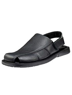 Handmade Genuine Leather Dress Sandals for Men with Closed Toe and Strap On The Heel