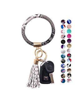 Keychain Bracelet Wristlet Key Holder Round Key Ring With Chain Bracelet Keychain with Big Tassel For Women Girls