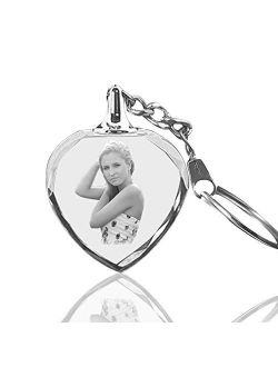 Qianruna Keychain Personalized Photo Custom LED Laser Engraved Etched Crystal Glass Keychain With Light Key Rings for Gifts