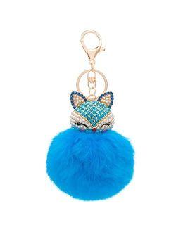 HOYUNLA Rabbit Fur Ball Pom Pom Keychain with Fox Head Inlay Pearl Rhinestone for Women Backpack Car Key Chain Decoration