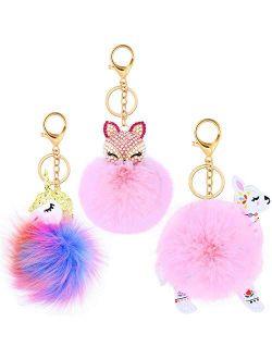 3 Pieces Animal Pom Pom Keychain Cute Fluffy Key Ring Unicorn Keychain for Women Bag Accessories