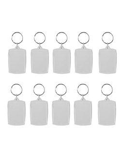 OULII Blank Photo Keychain Personalized Photo Keyring Rectangle 4x5.6cm / 2.2x1.57 Inches 10pcs