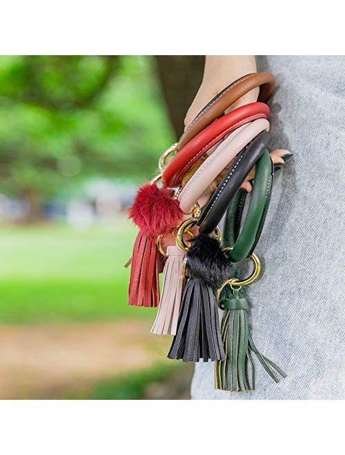 Key Ring Bracelet Wristlet Keychain Bracelet Bangle Leather Circle Tassel Pom Pom Keyring Holder Bag Charms For Women Girls