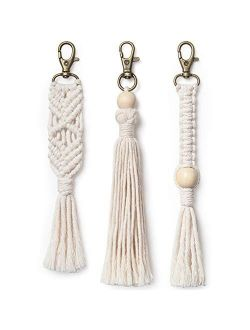 Mkono Mini Macrame Keychains Boho Bag Charms with Tassels Handcrafted Accessory for Car Key Holder, Purse, Phone Wallet,Valentine,s Day Party Supplies Gift, White, 3Pack