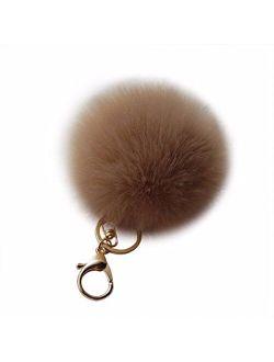Amiley Faux Rabbit Fur Pom Pom Car Keychain Handbag Wallet Backpack Key Ring