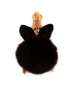 URSFUR Artificial Rabbit Ear Fur Ball - Fluffy Pom Pom Balls with Keychain Hook -Fluzzy Pompom Phone Bag Charm Pendant