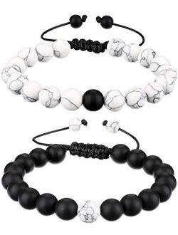BBTO Howlite Bracelet Black Matte Agate Bracelet Couples Bracelet Distance Bracelet Energy Beads Bracelet for Valentine's Day Present