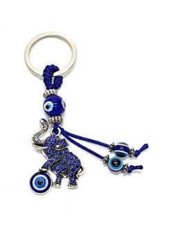 Bravo Team Blue Evil Eye Elephant Keychain Ring For Good Luck And Protection It Comes With Traditional Blue And White Colors With Matching Tassels And Durable Cord For Ha