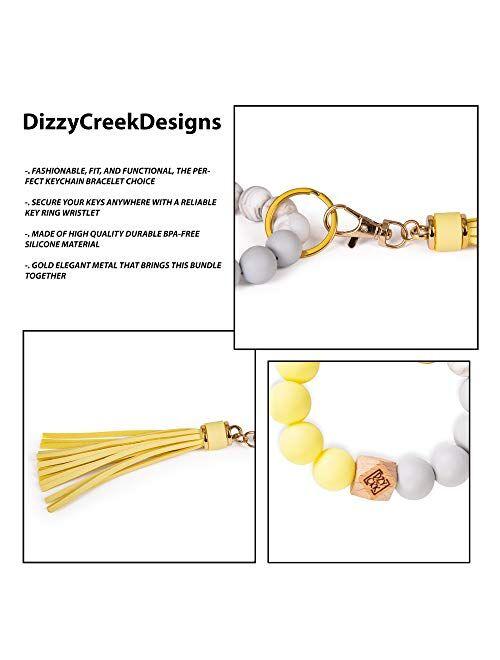 Dizzy Creek Designs Silicone Key Ring Keychain Bracelet, Women Beaded Bangle Keychain Wristlet Leather Tassel