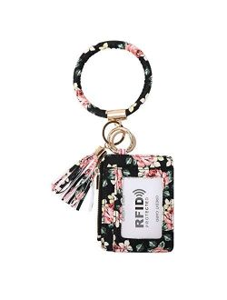 Keychain Wallet for Women, RFID Blocking Credit Card Holder With O Ring, Wristlet Coin Purse Bracelet Tassel Bangle
